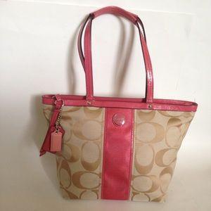 Coach Signature Stripe C Jacquard Pink Coral Bag